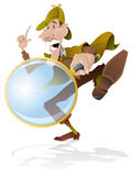 Investigator. Illustration of an inquisitive investigator searching for clues with his magnifying glass Royalty Free Stock Photo