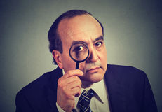 Investigator business man looking with magnifying glass. On gray wall background stock photography