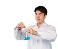 Investigator checking test chemical tubes Royalty Free Stock Photo