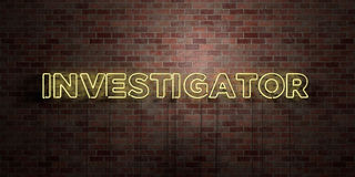INVESTIGATOR - fluorescent Neon tube Sign on brickwork - Front view - 3D rendered royalty free stock picture Royalty Free Stock Photos