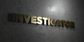 Investigator - Gold text on black background - 3D rendered royalty free stock picture Royalty Free Stock Photos