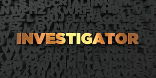 Investigator - Gold text on black background - 3D rendered royalty free stock picture Royalty Free Stock Photography
