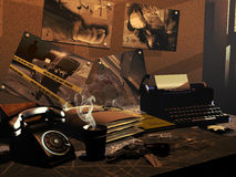 Investigator's desk. Sixties investigator's desk with photographies and evidences of a crime. A policeman badge and a hot coffee on the table indicate that the vector illustration