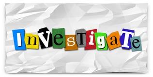 Investigue al detective de policía de la nota de rescate de la palabra Investigation Fotos de archivo libres de regalías