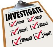 Investigue la investigación de la lista de verificación de las preguntas de los hechos básicos Imagenes de archivo