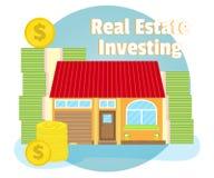 Investimenti in immobili Camera su fondo delle banconote e delle monete Concetto di affari Fumetto, stile piano, vettore Fotografie Stock