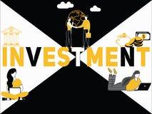 Investimento creativo e la gente di concetto di parola che fanno le cose illustrazione vettoriale