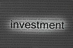 Investimento del testo su documento Fotografia Stock