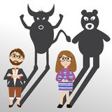 Investimento di riserva dell'ombra del ribassista o del toro Fotografia Stock