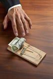 Investimento do dinheiro da armadilha do negócio Fotografia de Stock
