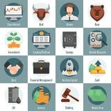 Investimento e ícones de troca Fotografia de Stock