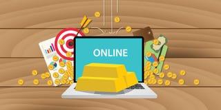 Investimento em linha do ouro com barra de ouro e portátil e ilustração do negócio Fotografia de Stock Royalty Free