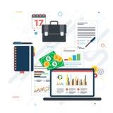 Investimento financeiro, analítica com relatório do crescimento imagens de stock