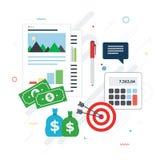 Investimento financeiro, analítica com relatório do crescimento imagens de stock royalty free
