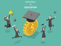 Investimento nel vettore isometrico piano di istruzione Immagine Stock Libera da Diritti