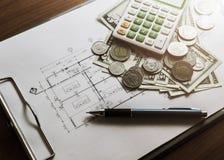 Investimento para a construção com orçamento do limite imagem de stock