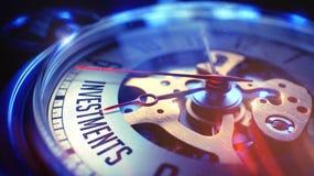 Investimentos - frase no relógio 3d Fotografia de Stock Royalty Free