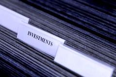 Investimentos organizados em abas dos arquivamentos fotografia de stock