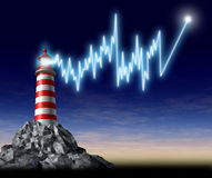 Investing advice and financial guidance. Represented by a lighthouse with a beaming shining light in the shape of a stock market graph that is pointing to Royalty Free Stock Images