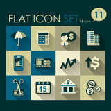 Investing & finance icon set. Vector flat design Royalty Free Stock Photo