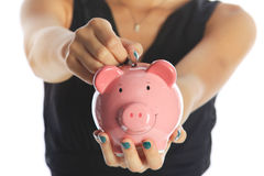 Investing for the Future. Woman Saving Money Stock Images