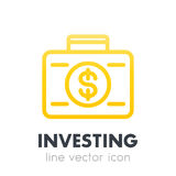 Investing icon, banking, suitcase with money Stock Photo