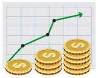 Investing money. Money growth graph. Illustration in vector format Stock Photo