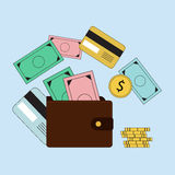 Investing and Personal Finance, Credit and Budgeting. Cashflow management and financial planning. E-commerce. Vector illustration. Stock Photo