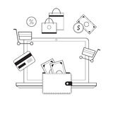 Investing and Personal Finance, Credit and Budgeting.. Cashflow management and financial planning. E-commerce. Vector illustration Stock Image