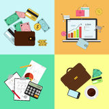 Investing and Personal Finance, Credit and Budgeting.. Cashflow management and financial planning. Vector illustration Royalty Free Stock Image