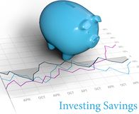 Investing savings piggy bank stock chart. Investing piggy bank retirement savings symbol on financial chart Royalty Free Stock Images