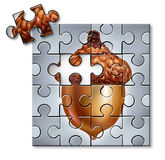 Investing Puzzle. Concept as an acorn with a missing piece as a financial metaphor for savings and tax and wealth management symbol on a white background Royalty Free Stock Photography