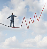 Investing Risk. And financial management leadership skill as a business concept and metaphor conquering adversity with a businessman walking on a high wire stock illustration