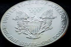 Investing in silver coins. Closeup of silver american eagle coin stock photos