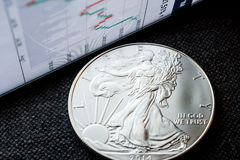Investing in silver coins. Closeup of silver american eagle coin with a chart reflection on close digital device with green and red bars royalty free stock image
