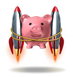 Investing Success. And new wealth management solutions to grow your finances fast  as a pink piggy bank with rocket engines strapped on to its sides blasting Stock Images