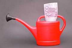 Investing with a watering can Royalty Free Stock Image
