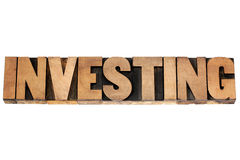 Investing word in wood type Royalty Free Stock Photo
