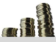 Investissement d'argent Euro pièces de monnaie argent empilé l'épargne Photographie stock libre de droits