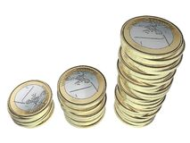 Investissement d'argent Euro pièces de monnaie argent empilé l'épargne Photos stock