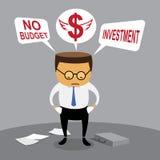 Investissement d'homme d'affaires, aucun budget Images libres de droits