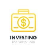 Investissement de l'icône, opérations bancaires, valise avec l'argent Photo stock
