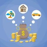 investissement, futur concept de rabotage de l'épargne illustration de vecteur