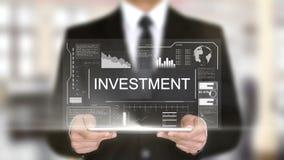 Investissement, interface futuriste d'hologramme, réalité virtuelle augmentée banque de vidéos