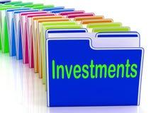 Investisseur et retours de financement d'exposition de dossiers d'investissements illustration de vecteur