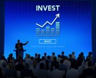 Investissez le concept de coûts de bénéfice de revenu financier d'investissement Photographie stock