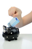 Investition des Euro Zwanzig zur piggy Querneigung Stockfotografie