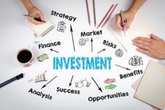 Investitions-Diagramm, Konzept Die Sitzung am weißen Bürotisch Lizenzfreies Stockbild
