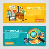 Investitions-und Optimierungs-Konzept-Fahnen Stockfotos