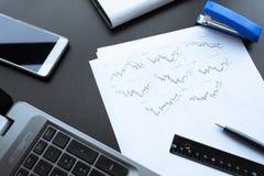 Investitionsdiagramme mit Laptop buchhaltung Lizenzfreie Stockfotografie
